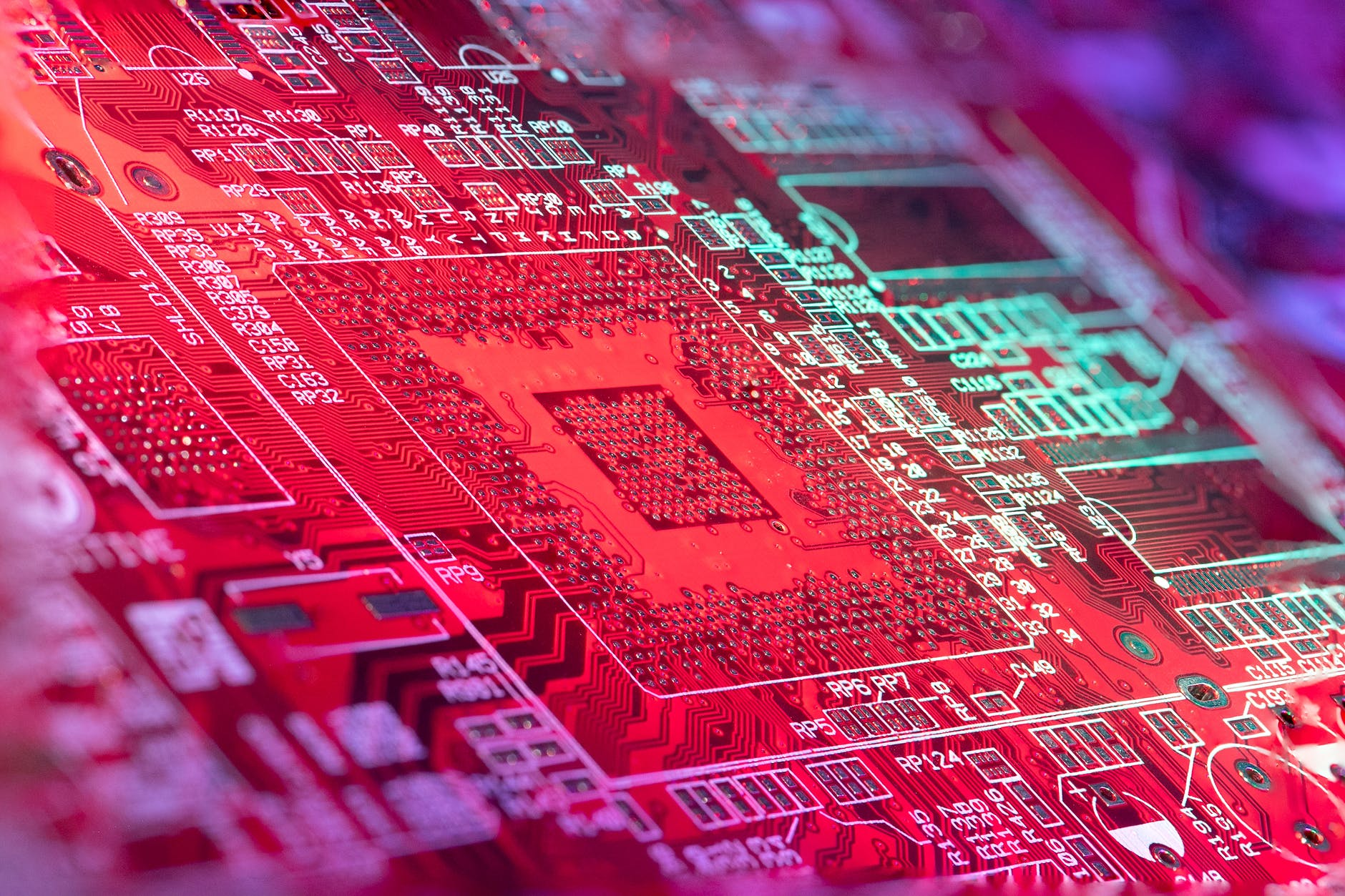 bright microchip with red light